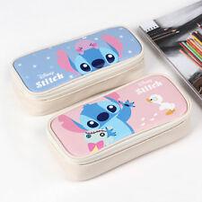 Cute Stitch Faux Leather Square Shaped Pencil Case Pen Bag Organizer Lilo&Stitch