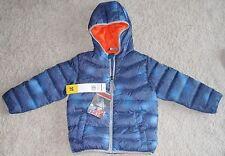 Boys Snozu Jacket Down Fleece Lined Hooded Coat 3T Blue Zip Front Pockets New