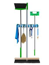 Broom And Mop Organiser With Hooks Wall Mounted Thick or Thin Handles Push In