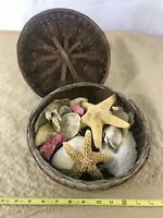 🐚🧺 A13 Basket Of Sea Shells Coral Starfish Seaside Relax Decor