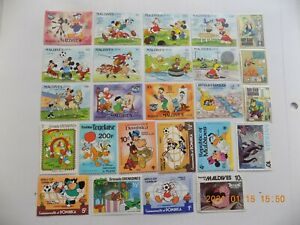 World Wide Topical Coll'n of used/mint  DISNEY CHARACTER stamps off paper-1-D