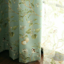 Pastoral Bird Printed Curtain Panel Drapes Sheer Tulle Voile Curtain 1 piece D1