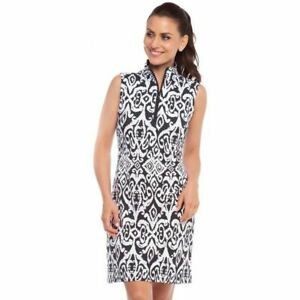 NWT Ladies IBKUL DOREEN Black & White Sleeveless Mock Golf Tennis Dress - XS