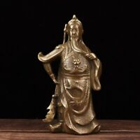 Fengshui bronze copper Warrior Guan Gong Guan Yu Hold Sword dragon Statue Decor