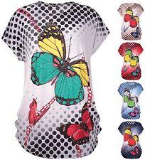 Womens Plus Size Butterfly Spot Sequin Print Ladies Cap Sleeve Baggy T-Shirt Top