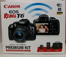 Canon EOS Rebel T6 Digital SLR Camera Premium Kit Photography 18-55 75-300 + Bag