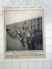 1912 Mine Workers Swarming Out Of Train Markham Pit Chesterfield For Wages