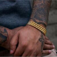 Stainless Steel Gold Chain Link Bracelet Strap Bangle Wristband Men Jewelry
