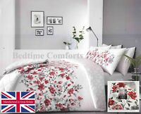 SUPER KING SIZE 6' FLORAL DUVET COVER 2 PILLOW CASES (WHITE,GREY,RED) GABBY