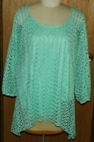 Cato Mint Green Lace Lined Spring Sweater with Scalloped Hem Size 26/28 W