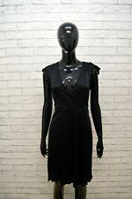 SANDRO FERRONE Tubino Vestito Donna Taglia 44 Maglia Manica Corta Dress Nero