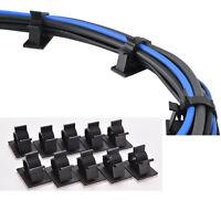 10x cordon câble organisateur clip en plastique attaches fixateur autocoll PM