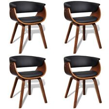 S#set of 4 Modern Artificial Faux Leather Bent Wood Dining Chair Black Seat Cafe