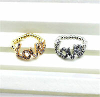 Lovely crystal love stretch / adjustable ring multiple choices