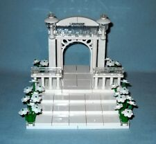NEW LEGO WEDDING CAKE TOPPER WITH STAIRS, ARCH, & FLOWERS FOR BRIDE AND GROOM