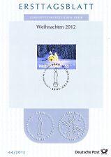 BRD 2012: Weihnachten - Elmauer Kapelle im Winter! Ersttagsblatt der Nr. 2961!