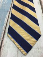 Brooks Brothers Makers Pure Silk Woven in England Made in USA Yellow Striped Tie