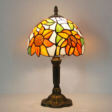 8 inch Retro Sunflower Stained Glass Tiffany style Table Bedside Reading lamp