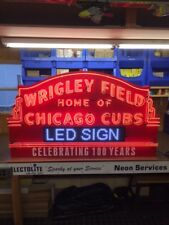 "Wrigley Field Chicago Cubs Sign. Heavy 0.80 neon Art Display . Huge 42"" by 72"""