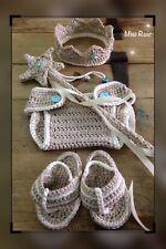 Conjunto Crochet Bebe Recién Nacido Atrezo Fotografía Nuevo Beige Artesanal 0/3