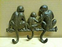 Cast Iron 3 Monkey Family Wall Mounted 3 Hook Key Holder Rustic Brown