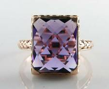 LOVELY ENGLISH 9CT 9K ROSE GOLD ZAMBIAN AMETHYST SOLITAIRE RING FREE RESIZE
