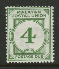 Malayan Postal Union 1936-38 4c Green SG D2 Mint.