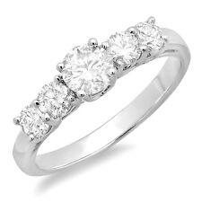 14K White Gold Round Diamond Ladies Anniversary Wedding Ring Band 3/4 CT Size 10