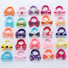 10Pcs Girls Polka Dots Bow Hair Ring Kids Elastic Hair Ties Hair Rubber Band New