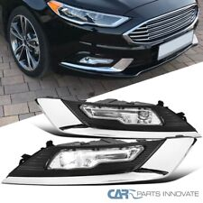 For 17-18 Ford Fusion LED Front Bumper Lamps Fog Lights+Switch+Bi-color Bezels