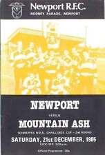 Newport V FRASSINO 21 DEC 1985 programma Rugby WRU TAZZA 2ND ROUND