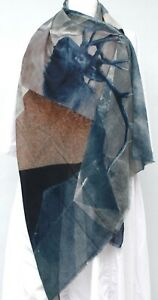 STUNNING BLUE COTTON BLEND GEOMETRIC SHAPES WITH STAGS PATTERN FTAYED EDGE SCARF