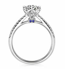 Accent Cz Engagement Bridal Ring Merci Sterling Silver 7mm Solitaire Blue