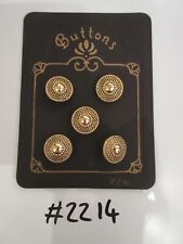 #2214 Lot of 5 Gold Colour Metal Buttons