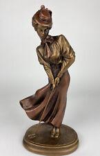 Vintage Austin Golf Sculpture Elegant Lady Putting Golf, Bronze Color Finish 14