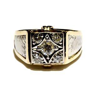 14k yellow white gold 1.04ct mens diamond band ring 8.7g estate vintage 13