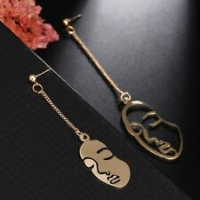 (Australia Stock) Gold Plated Modern Unique Human Face Long Dangle Earrings