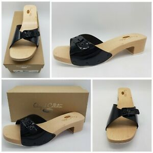 Dr Scholls Original Collection 8 M Blk Patent Leathe Wooden Clog Sandals Slides