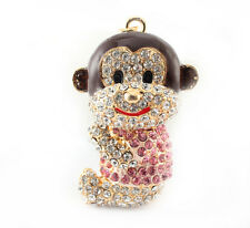 Year of the Monkey Pink Sit Keychain Crystal Charm Cute Animal Purse Gift 01301