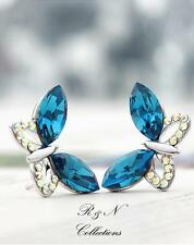 Platinum Plated Made W/Swarovski Blue Crystal Butterfly Design Earrings E597-31