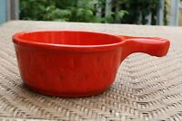 VTG CERAMIC STONEWARE ONION SOUP BOWL WITH HANDLE RED POTTERY