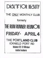 """DIAL """"B"""" Alternative Dance Flyer Flyers A5 4/4/86 The Portland Club Birmingham"""