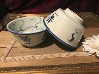 """2 Asian Porcelain Blue & White Decorative Design Rice Bowls 4 7/8""""x2 1/2"""" #1"""