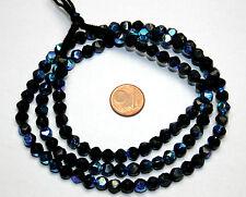 64 cm Strang cornerless Perlen irisierend bedampft 6 mm schwarz