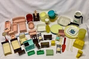 Vintage Doll House Miniature Furniture Accessories Lot