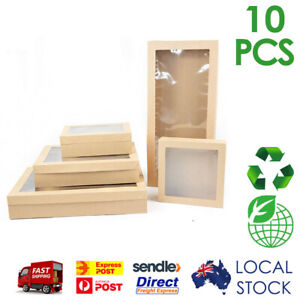 10 x Premium Disposable Cardboard Catering Grazing Boxes w/ Window Biodegradable