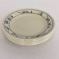 "8 Corelle First of Spring Bread & Butter Dessert Plates 6 3/4"" Beige Blue Floral"