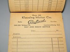 NOS Original Packard Dealer Receipt Booklet - Klausing Motor Co - Indiana