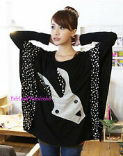 Japan Rabbit Polka Dot Patchwork Oversized Knit Tunic Shirt! Black