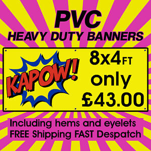 8x4ft PVC Banners Outdoor Vinyl Banner Advertising Sign Display Printed Banner